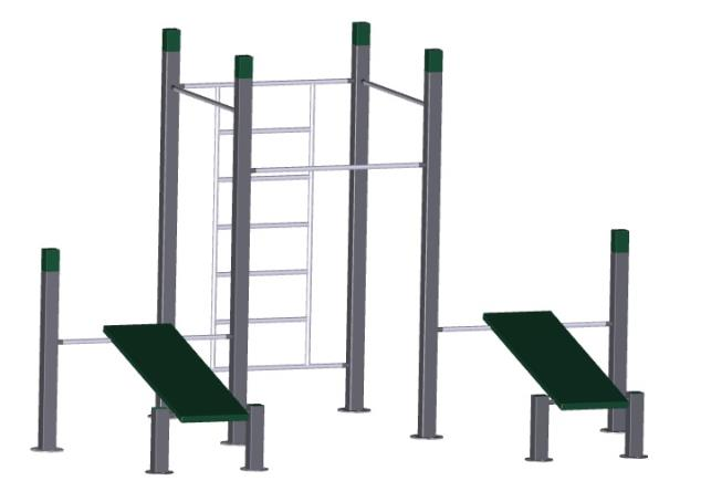 Wall - 3 pull up bars